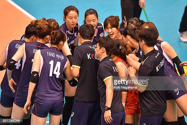 Players of South Korea form a huddle prior to the Women's World Olympic Qualification game between South Korea and Italy at Tokyo Metropolitan...