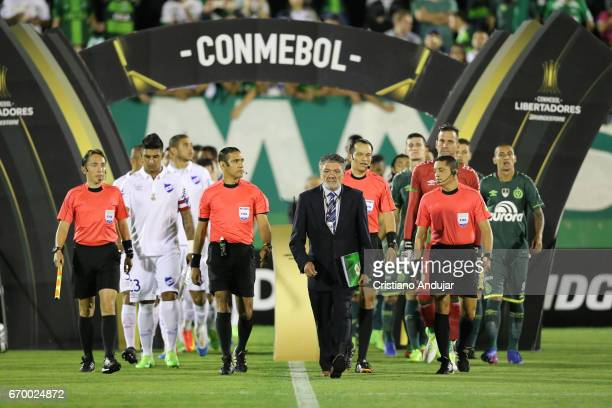 Players of South teams enter into the field prior a match between Chapecoense and Nacional Uruguai as part of Copa Bridgestone Libertadores at Arena...