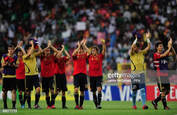 Players of Spain celebrate winning the 3rd/4th Play off match during the FIFA U17 World Cup 3rd/4th Play off match between Colombia and Spain at the...