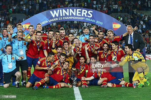 Players of Spain celebrate winning the UEFA European U21 Championship final match against Italy at Teddy Stadium on June 18 2013 in Jerusalem Israel