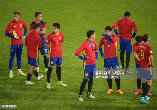 Players of Spain look dejected after loosing the UEFA European Under21 Championship Final match between Germany and Spain on June 30 2017 in Krakow...
