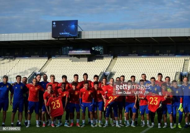 Players of Spain pose for photos during their training session on June 26 2017 in Krakow Poland