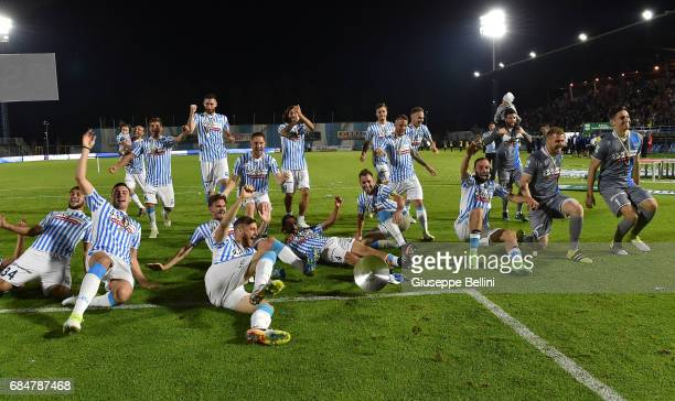 Players of SPAL celebrate promotions in series A after the Serie B match between SPAL and FC Bari at Stadio Paolo Mazza on May 18 2017 in Ferrara...