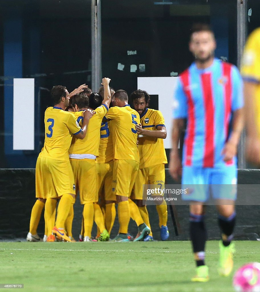 Players of Spal celebrate the opening goal during the TIM Cup match between Calcio Catania and Spal at Stadio Angelo Massimino on August 10 2015 in...