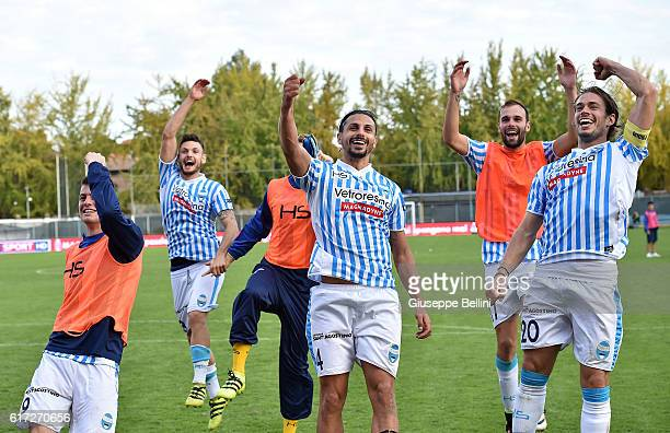 Players of Spal celebrates the victory after the Serie B match between SPAL and Carpi FC at Stadio Paolo Mazza on October 22 2016 in Ferrara Italy