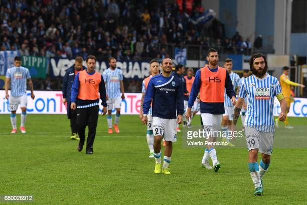 Players of SPAL show their dejection at the end of the Serie B match between SPAL and FC Pro Vercelli at Stadio Paolo Mazza on May 7 2017 in Ferrara...