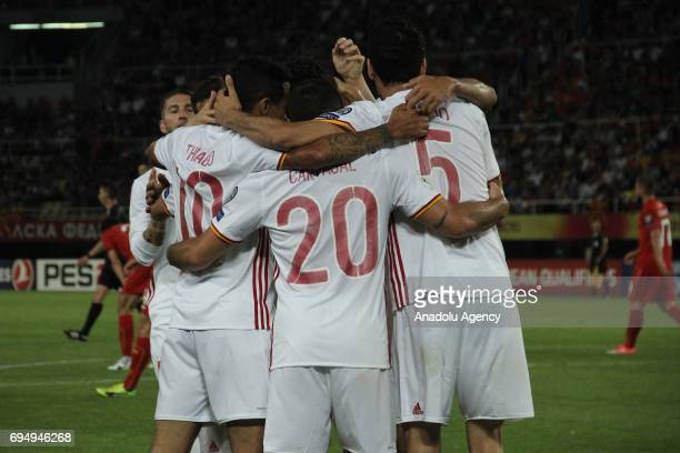 Players of Spanish National Football Team celebrate after scoring during the FIFA 2018 World Cup Qualifiers Group G match between Macedonia and Spain...