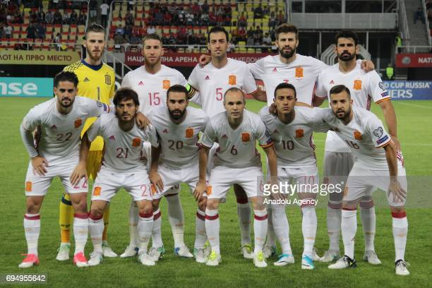 Players of Spanish National Football Team pose for a photo ahead the FIFA 2018 World Cup Qualifiers Group G match between Macedonia and Spain at...