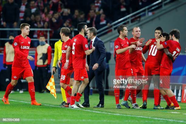 Players of Spartak Moscow celebrate after scoring a goal during UEFA Champions League match between Spartak Moscow and Sevilla FC at Spartak Stadium...