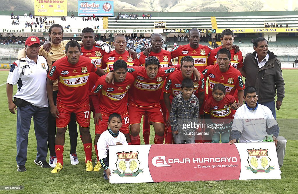Players of Sport Huancayo pose before a match between Sport Huancayo and Sporting Cristal as part of The 2013 Torneo Descentralizado at the Huancayo Stadium on February 18, 2013 in Huancayo, Peru