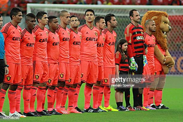 Players of Sport Recife looks on during the national anthem prior to playing in an Brasileirao Series A 2014 match between Sport Recife and Santos at...