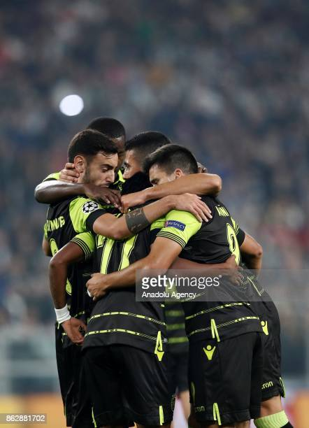 Players of Sporting CP celebrate after the goal during the UEFA Champions League group D football match between FC Juventus and Sporting CP at...