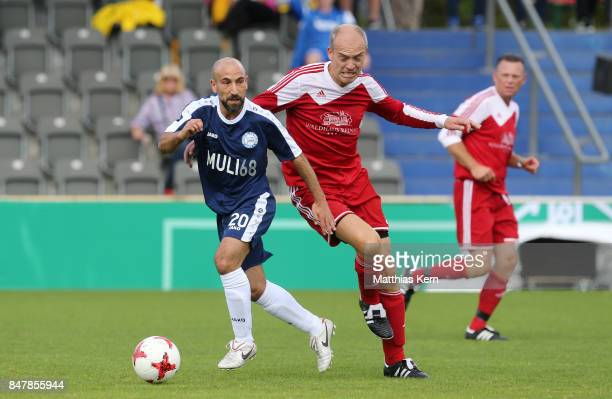 Players of SpVg Blau Weiss 1890 and TSV Reinbek battle for the ball during the DFB over 40 and 50 cup at Amateurstadion on September 16 2017 in...