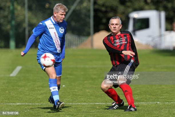 Players of SpVg Blau Weiss 1890 and TuS Frisia Goldenstedt battle for the ball during the DFB over 40 and 50 cup at Amateurstadion on September 16...