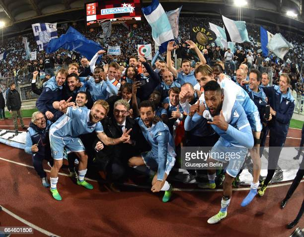 Players of SS Lazio celebrate the victory after the TIM Cup match between AS Roma and SS Lazio at Stadio Olimpico on April 4 2017 in Rome Italy