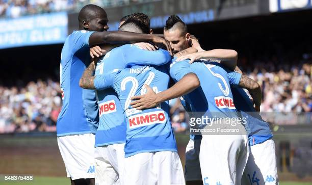 Players of SSC Napoli celebrate the 10 goal scored by Allan during the Serie A match between SSC Napoli and Benevento Calcio at Stadio San Paolo on...