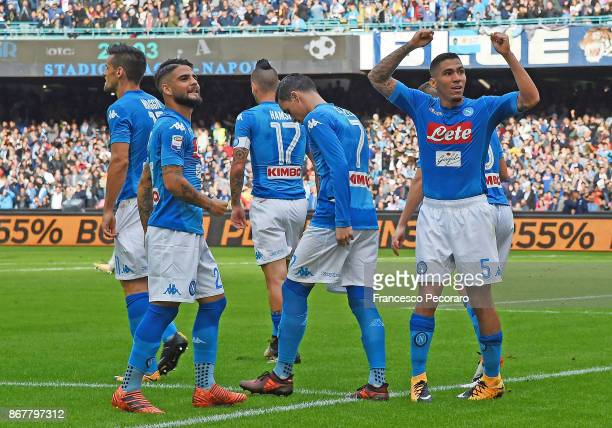 Players of SSC Napoli celebrate the 10 goal scored by Allan during the Serie A match between SSC Napoli and US Sassuolo at Stadio San Paolo on...
