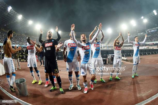 Players of SSC Napoli celebrate the victory with their supporters after the Serie A match between SSC Napoli and ACF Fiorentina at Stadio San Paolo...