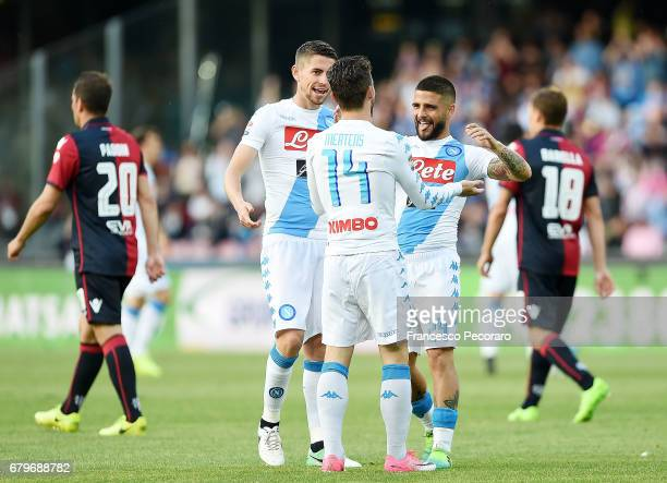 Players of SSC Napoli Dries Mertens Lorenzo Insigne and Jorginho celebrate after Dries Mertens scored the 20 goal beside the disappointment of...