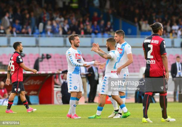 Players of SSC Napoli Dries Mertens Lorenzo Insigne and Jorginho celebrate after scoring the 20 goal beside the disappointment of Marco Sau and Bruno...