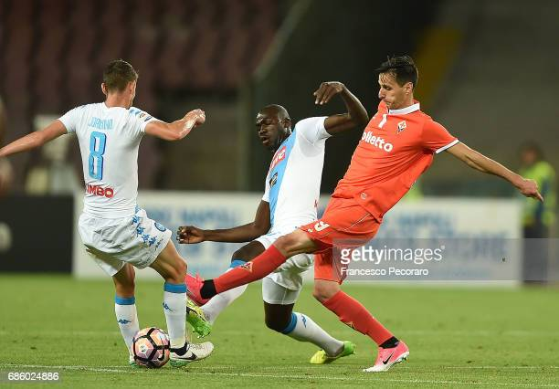 Players of SSC Napoli Jorginho and Kalidou Koulibaly vies with ACF Fiorentina player Nikola Kalinic during the Serie A match between SSC Napoli and...