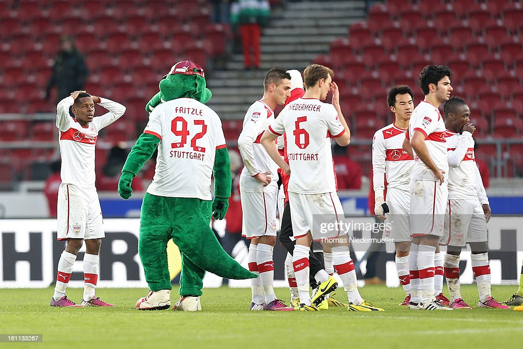 Players of Stuttgart react after the Bundesliga match between VfB Stuttgart and Werder Bremen at Mercedes-Benz Arena on February 9, 2013 in Stuttgart, Germany.
