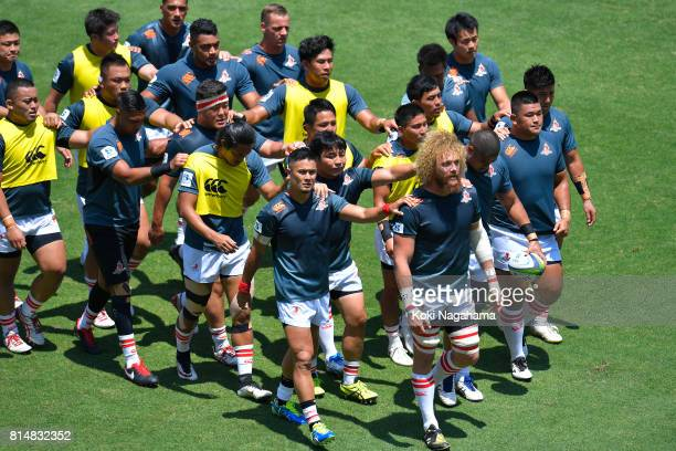 Players of Sunwolves walk in arm in arm prior to the Super Rugby match between the Sunwolves and the Blues at Prince Chichibu Stadium on July 15 2017...
