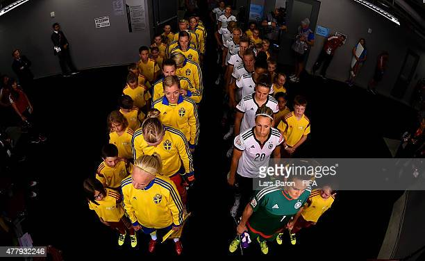 Players of Sweden and Germany are seen in the tunnel prior to the FIFA Women's World Cup 2015 Round of 16 match between Germany and Sweden at...