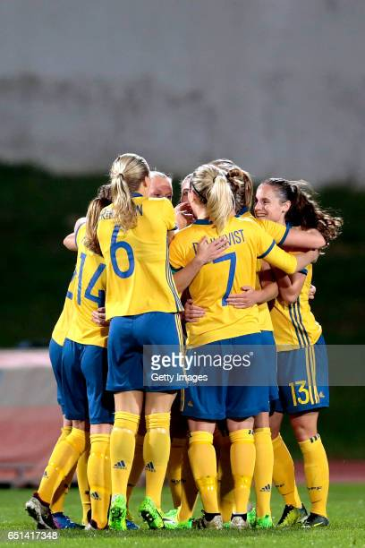 Players of Sweden celebrate a goal during the Algarve Cup Tournament Match between Sweden W and Russia W on March 8 2017 in Albufeira Portugal
