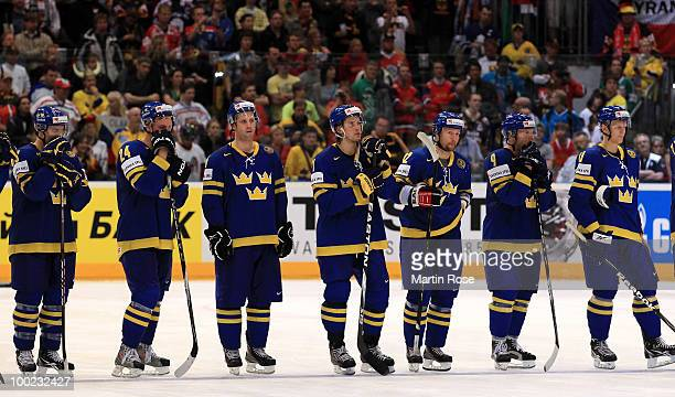 Players of Sweden look dejected after losing the IIHF World Championship semifinal match between Sweden and Czech Republic at Lanxess Arena on May 22...