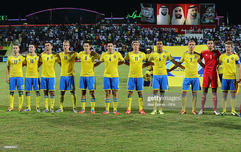 Players of Sweden sing their national anthem prior to the FIFA U-17 World Cup UAE 2013 Semi Final match between Sweden and Nigeria at Al Rashid Stadium on November 5, 2013 in Dubai, United Arab Emirates.