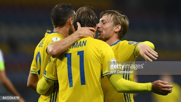 Players of Swedish national team celebrate their goal during the FIFA World Cup 2018 qualification football match between Belarus and Sweden in...