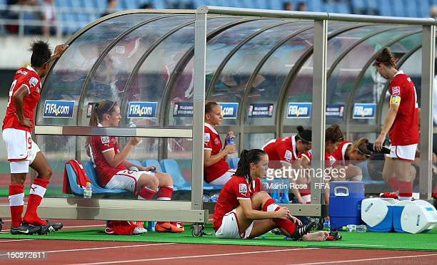 Players of Switzerland look dejected after the FIFA U20 Women's World Cup 2012 group A match between Mexico and Switzerland at Miyagi Stadium on...