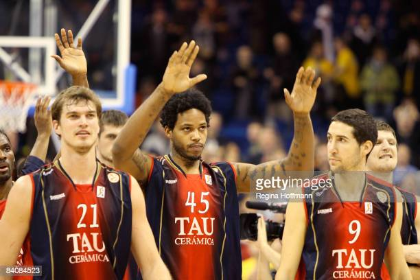 players of Tau Vitoria celebrating the victory after the Euroleague Basketball Game 8 between Alba Berlin v Tau Ceramica on December 18 2008 at the...