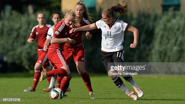 Players of team Germany and Westfalen battle for the ball during the U18 Girl's Federal Cup at Sport School Wedau on October 4 2015 in Duisburg...