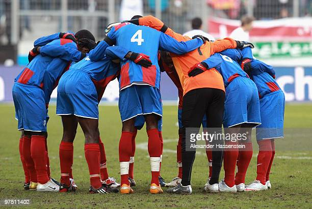 Players of team Haiti gather prior the charity match for earthquake victims in Haiti between ran Allstart team and National team of Haiti at Impuls...