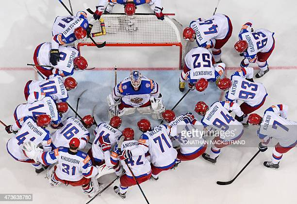 Players of team Russia gather ahead of the semi final match USA vs Russia at the 2015 IIHF Ice Hockey World Championships on May 16 2015 at the O2...