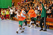 Players of team Sachsen celebrate after winning the DFB Futsal Federal Cup 2015/2016 at Sport School Wedau on January 17 2016 in Duisburg Germany