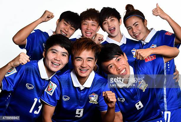 Players of Thailand pose during the FIFA Women's World Cup 2015 portrait session at Fairmont Chateau Laurier on June 3 2015 in Ottawa Canada