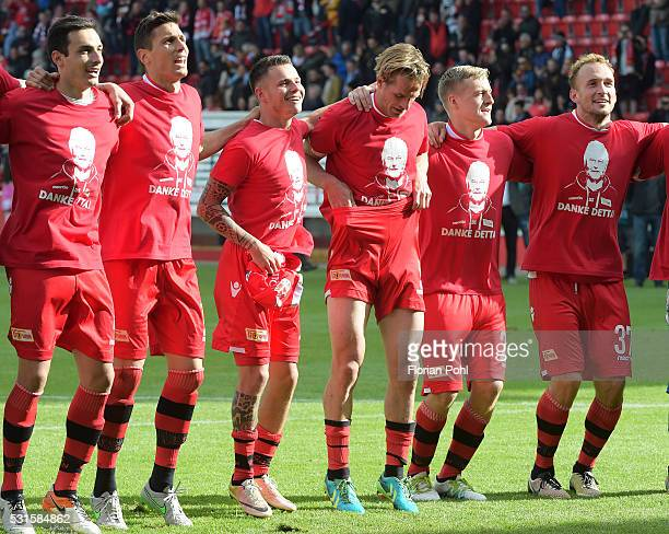 players of the 1st FC Union Berlin celebrate the 21 win after the game between Union Berlin and dem SC Freiburg on may 15 2016 in Berlin Germany