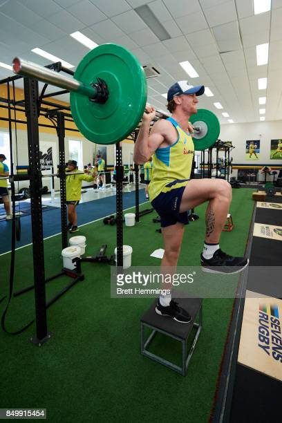 Players of the Australian Rugby Sevens team work out in the gym during a training session on September 20 2017 in Sydney Australia