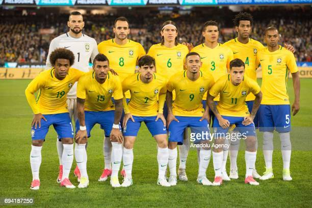 Players of the Brazil pose for a team photo before a friendly football international between Argentina and Brazil at the Melbourne Cricket Ground in...