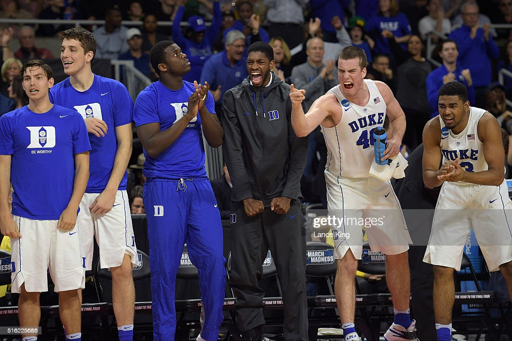 Players of the Duke Blue Devils celebrate from the bench during a game against the North Carolina-Wilmington Seahawks during the first round of the 2016 NCAA Men's Basketball Tournament at Dunkin' Donuts Center on March 17, 2016 in Providence, Rhode Island.