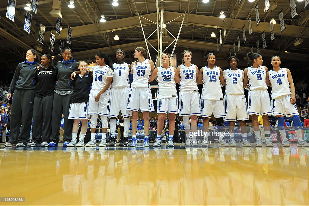 Players of the Duke Blue Devils stand on the court following their game against the North Carolina Tar Heels at Cameron Indoor Stadium on March 3, 2013 in Durham, North Carolina. Duke defeated North Carolina 65-58.