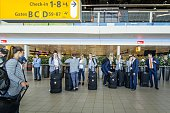 Players of the Dutch national women soccer team gather at Schiphol Airport on May 24 2015 prior to their departure to Canada in preparation for the...