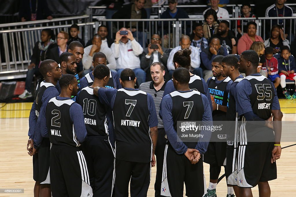 Players of the Eastern Conference All-Stars huddle during the NBA All-Star Practices at Sprint Arena as part of 2014 NBA All-Star Weekend at the Ernest N. Morial Convention Center on February 15, 2014 in New Orleans, Louisiana.