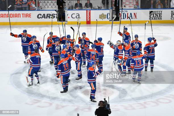 Players of the Edmonton Oilers salute the fans after winning the game against the Los Angeles Kings on March 28 2017 at Rogers Place in Edmonton...