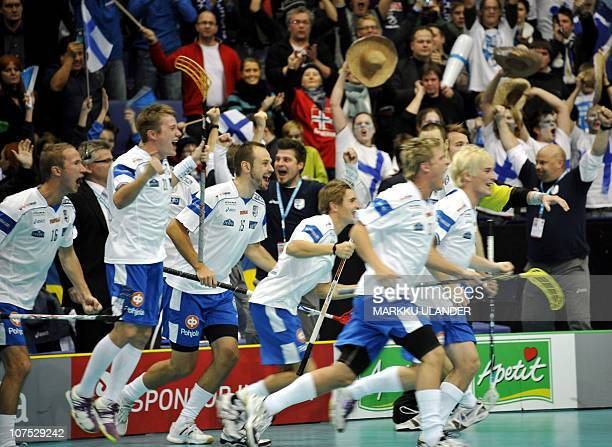 Players of the Finnish team celebrates after beating Sweden 62 in the World Floorball Championship 2010 final game between Finland and Sweden in...