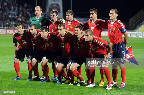 Players of the football team of Armenia pose before their Euro 2012 qualifying match Slovakia vs Armenia in Zilina on September 6 2011 AFP PHOTO/...