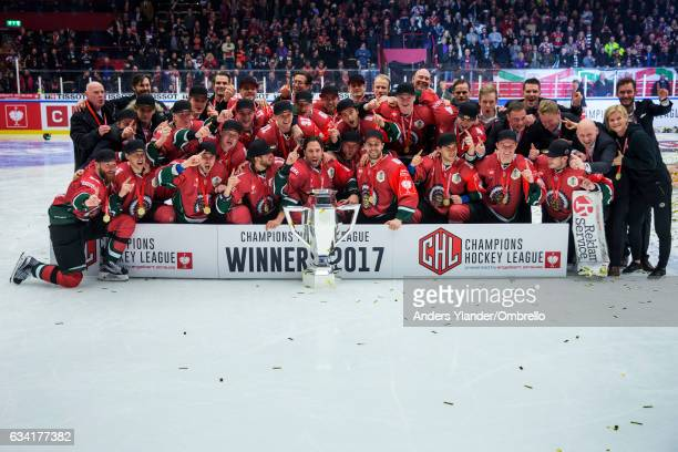 Players of the Frolunda Gothenburg celebrates after winning the Champions Hockey League Final between Frolunda Gothenburg and Sparta Prague at...
